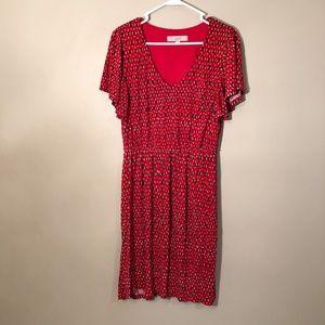 Loft | Red Casual Sundress Bell Sleeve M